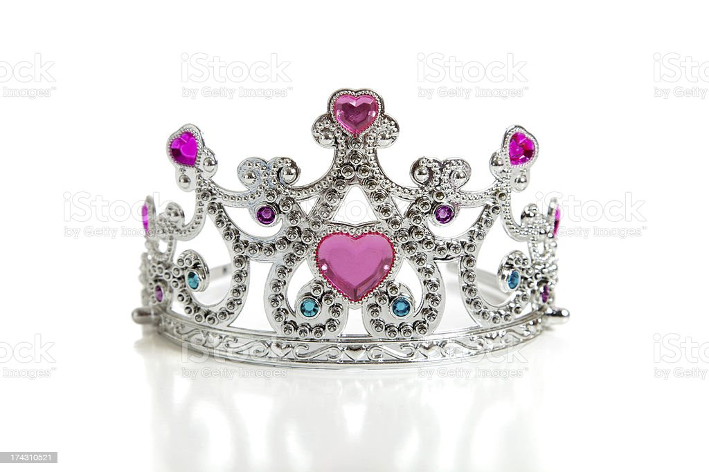 Child's toy princess tiara on a white background stock photo