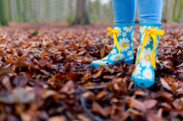 des kindes tragen himmelblau gummistiefel mit daisy muster und gelben bogen bändern spielt in einem wald im herbst blätter auf einem hellen kalten morgen - kinder winterstiefel stock-fotos und bilder