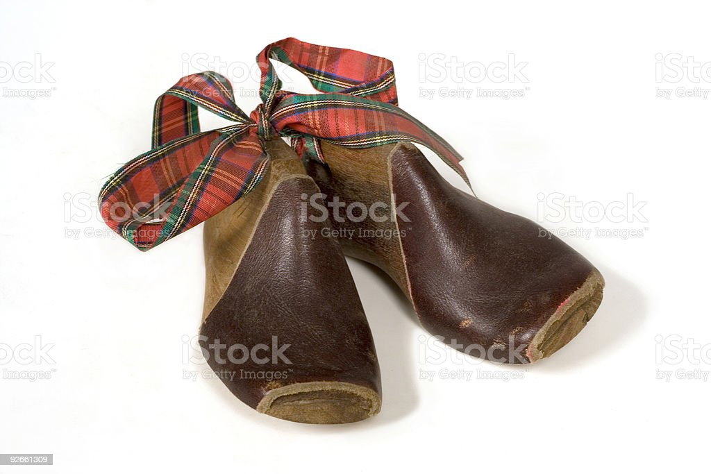 child's wood shoe forms stock photo