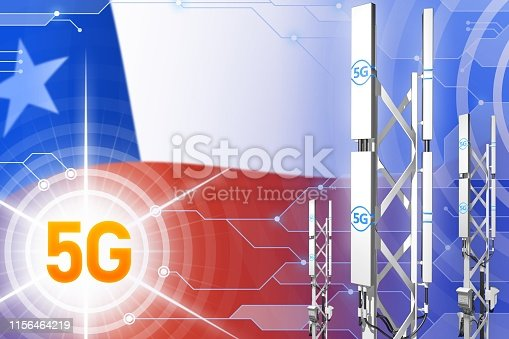 istock Chile 5G industrial illustration, big cellular network mast or tower on modern background with the flag - 3D Illustration 1156464219