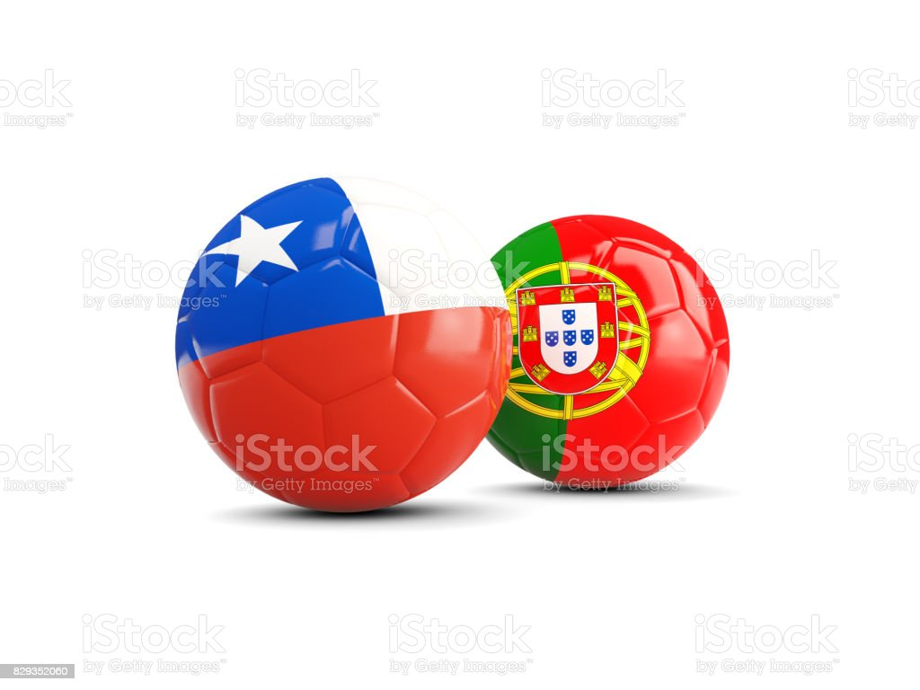 Chile and Portugal soccer balls isolated on white background stock photo