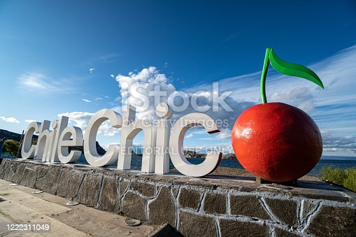 February 2020. Chile Chico sign on the shores of General Carrera lake in the Chilean Patagonia, southern Chile
