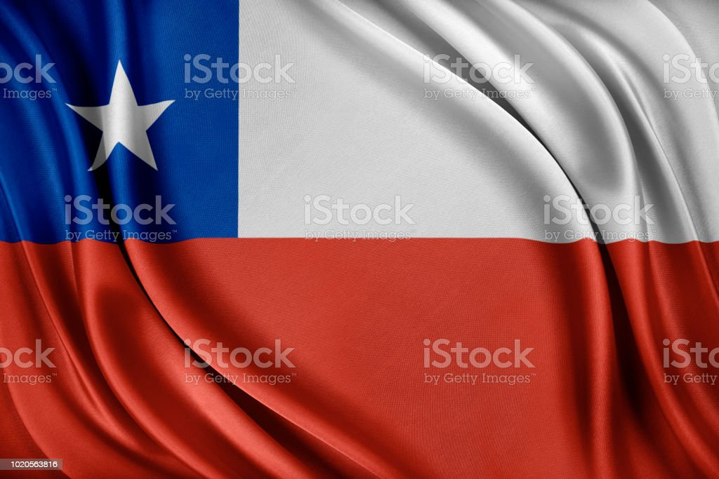 Bandeira do Chile. Bandeira com uma textura de seda brilhante - foto de acervo