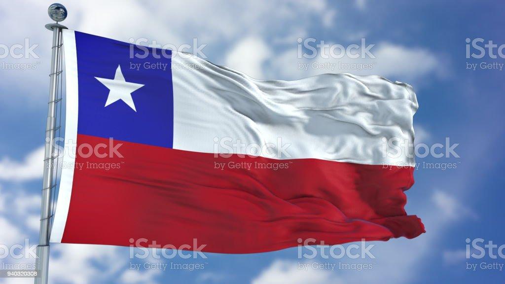 Bandeira do Chile em um céu azul - foto de acervo