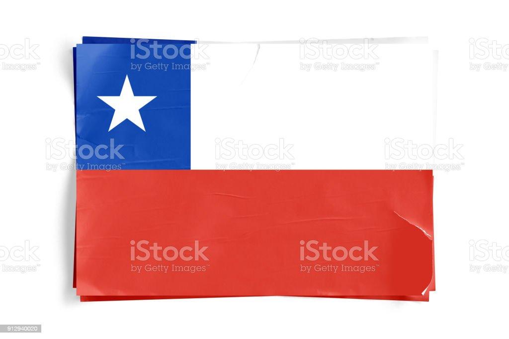 Bandeira do Chile em cartazes de papel desintegrado enrugada Torned - foto de acervo