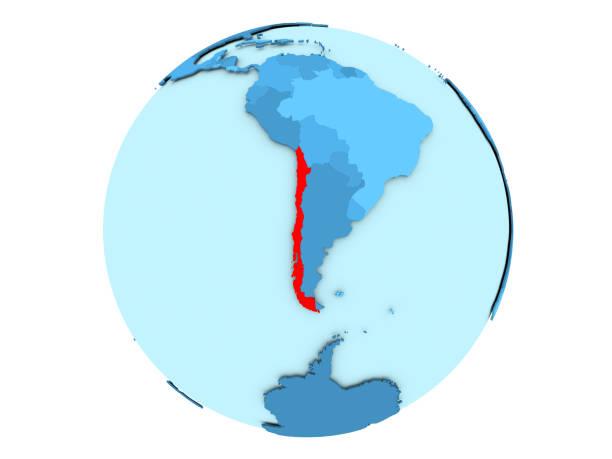 Chile en globo azul aislado - foto de stock