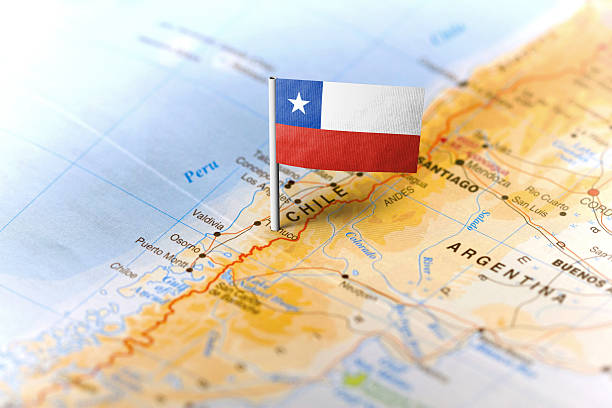 Chile pinned on the map with flag stock photo