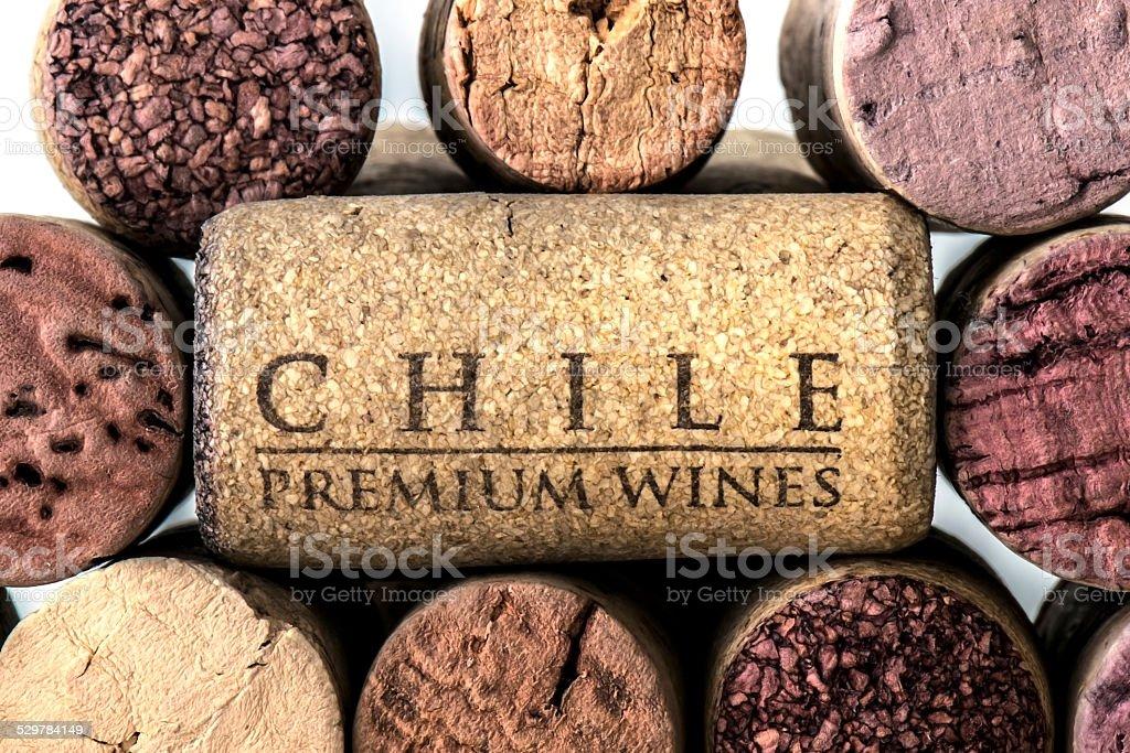 Chile premium wines cork stock photo
