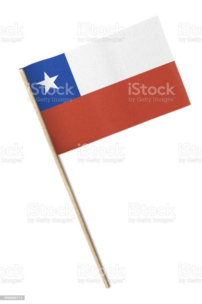Bandeira pequena Chile isolada em um fundo branco - foto de acervo