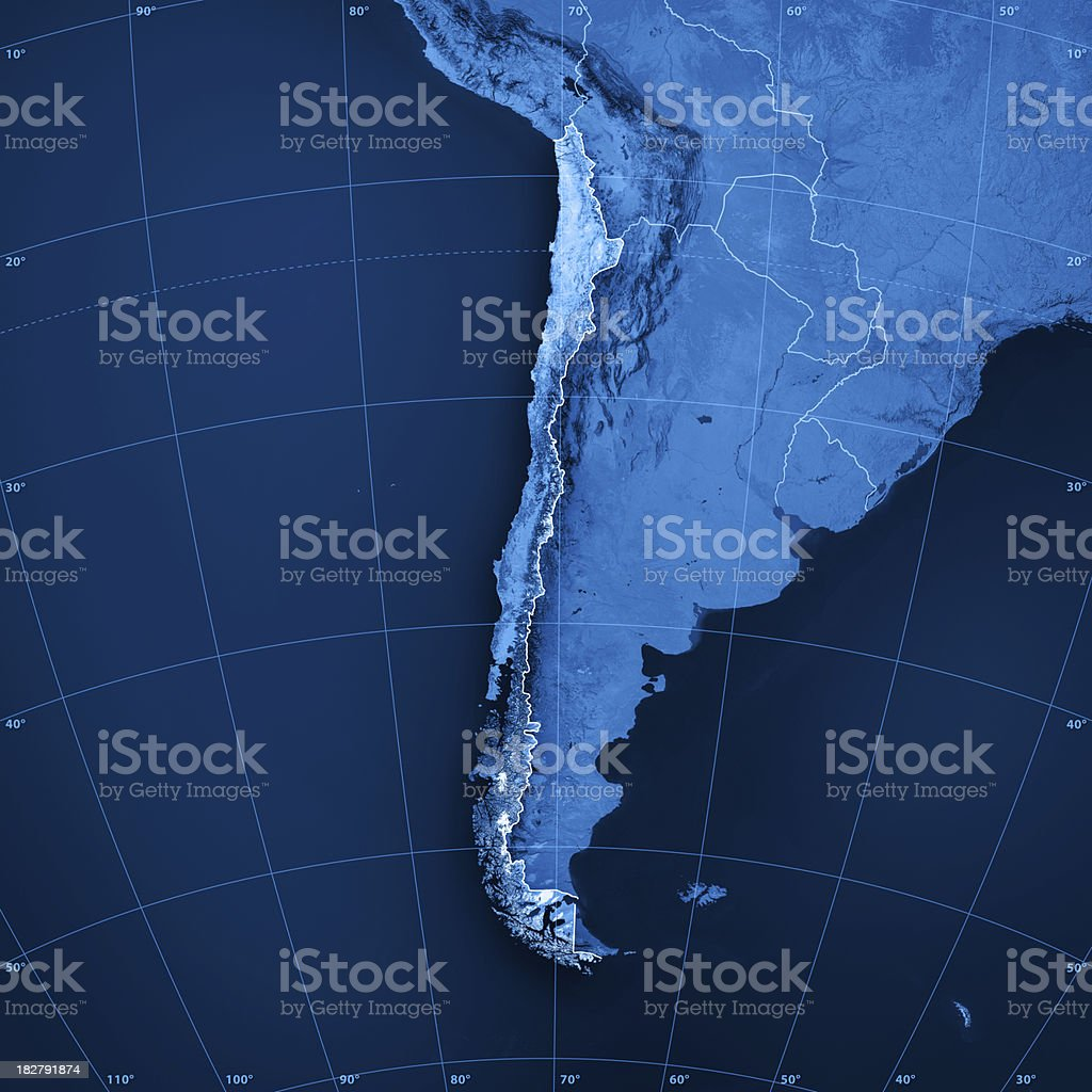 Chile Topographic Map stock photo