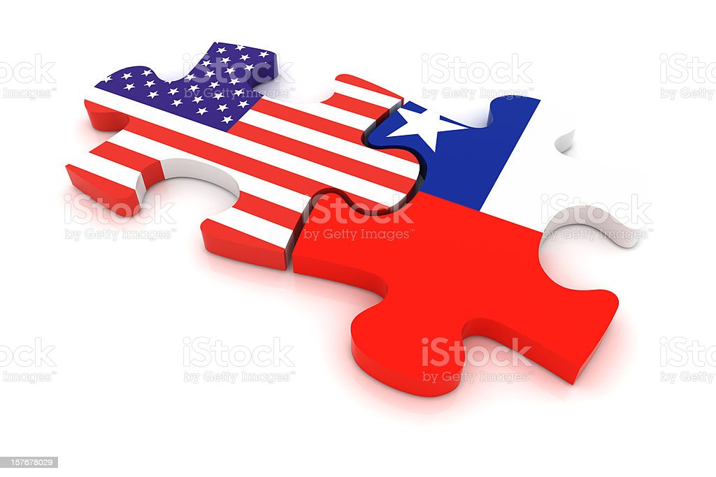 Chile USA Puzzle Concept royalty-free stock photo
