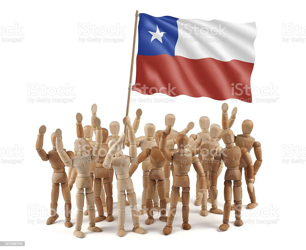 Chile-Manequim grupo de madeira com bandeira - foto de acervo
