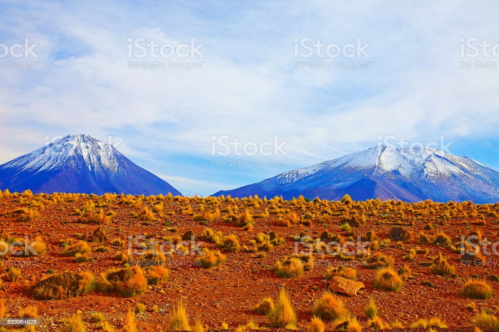 Chilean Andes altiplano at sunrise and volcano, Idyllic Atacama Desert, snowcapped Volcanic steppe puna landscape panorama – Antofagasta region, Chilean Andes, Chile, Bolívia and Argentina border stock photo