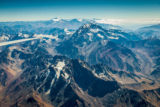Chilean Andes Air view of the Andes range of mountains between Chile and Argentina high seat stock pictures, royalty-free photos & images
