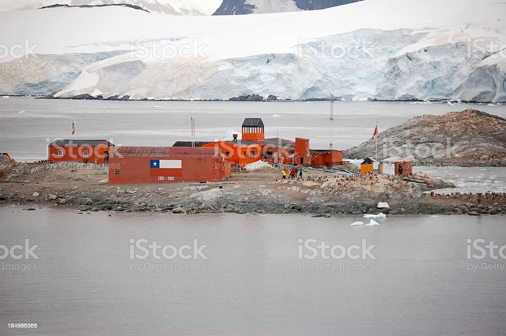 Chilean Antarctic Research Station On Paradise Bay stock photo