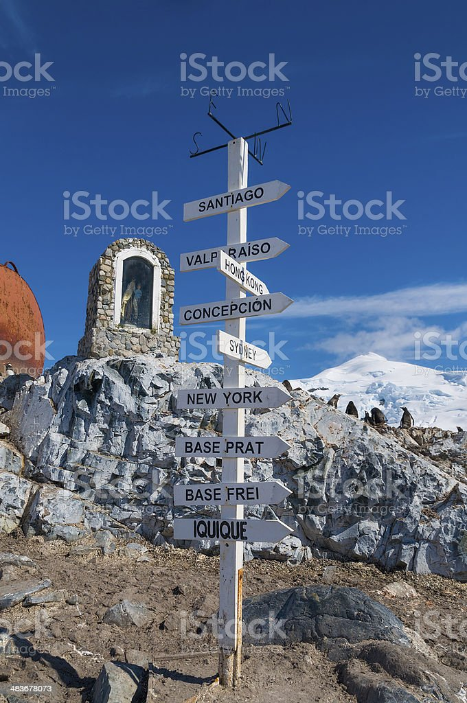 Chilean base Antarctica distance pole royalty-free stock photo