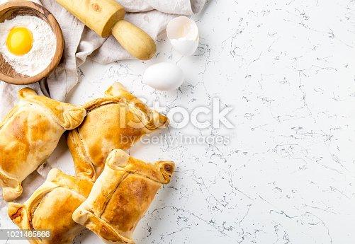 Chilean EMPANADAS DE PINO. Independence day baking concept. Empanadas on white background