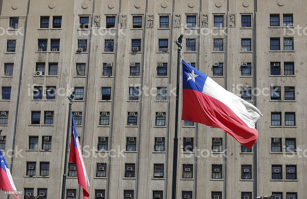 Chilean Flag and Public Building stock photo