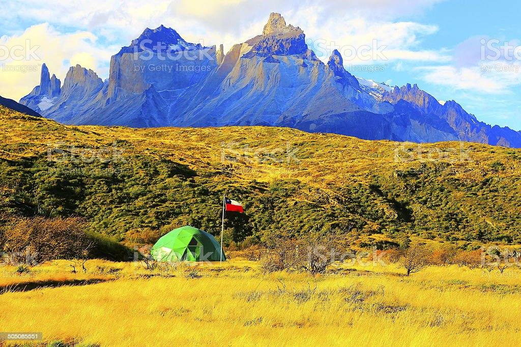 Chilean flag and Torres del Paine camping tent, Patagonia stock photo