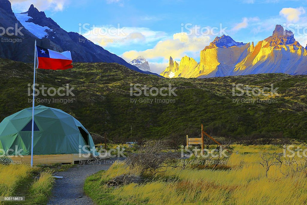 Chilean flag and Torres del Paine camping tent, Patagonia royalty-free stock photo