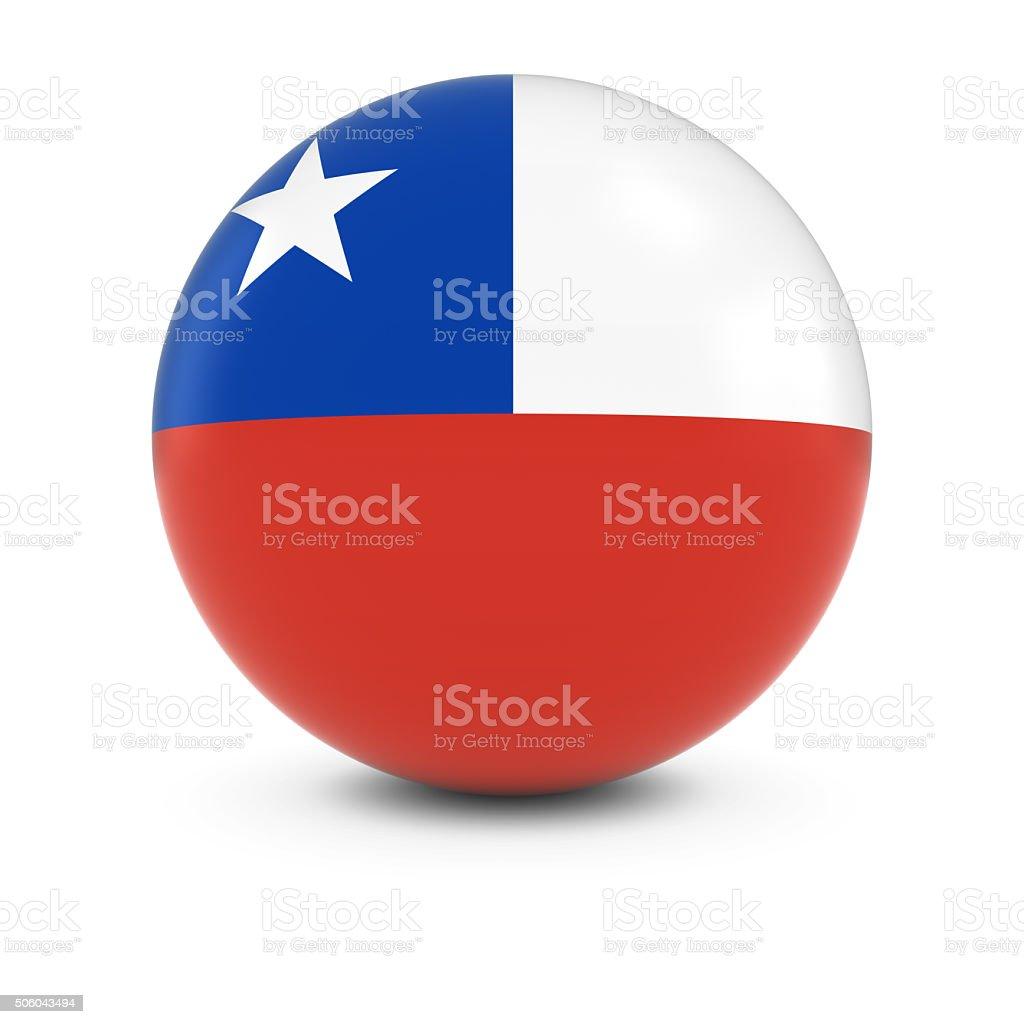 Bandeira Chilena bola Bandeira do Chile, na esfera de isolamento - foto de acervo