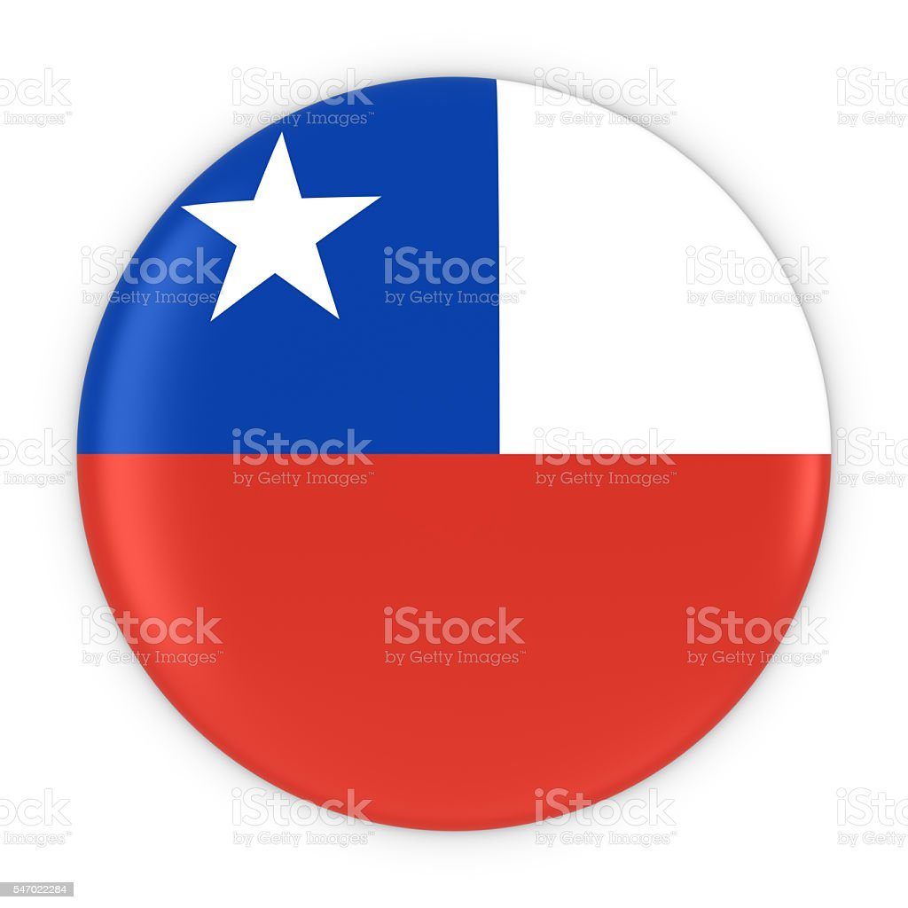 Chilean Flag Button - Flag of Chile Badge 3D Illustration - foto de acervo