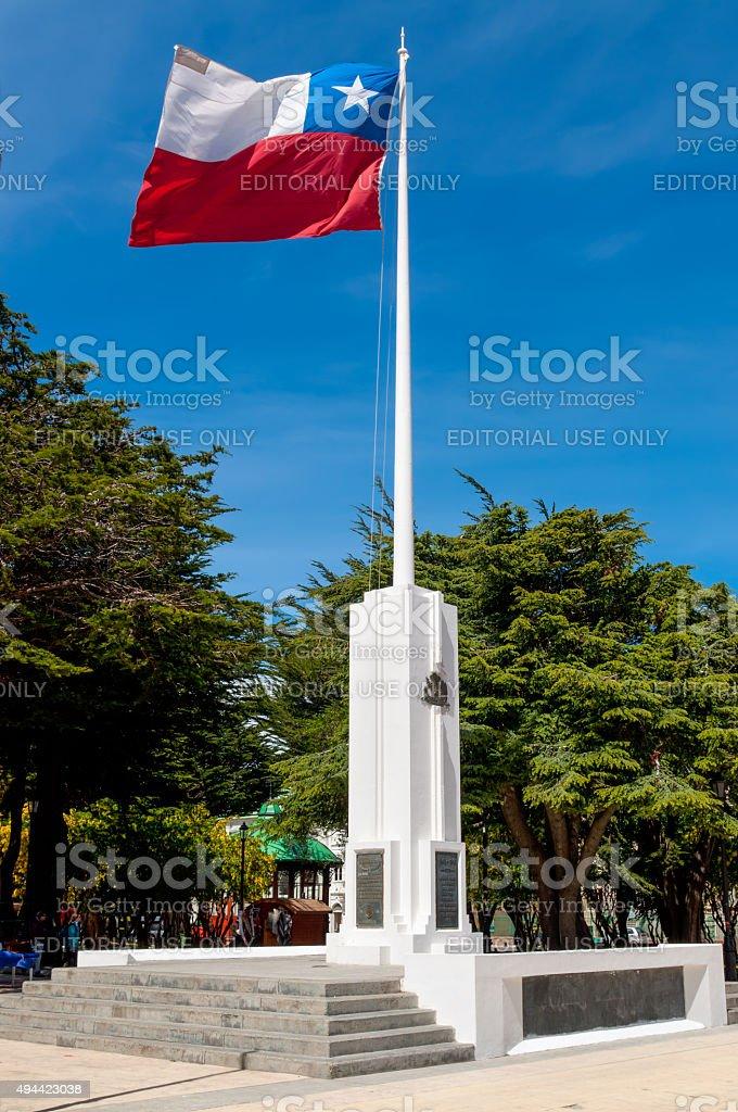 Bandeira Chilena leite com o vento em um memorial - foto de acervo