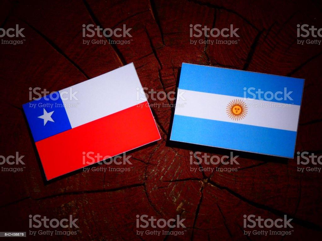 Bandera chilena con bandera Argentina en un tocón de árbol aislado - foto de stock