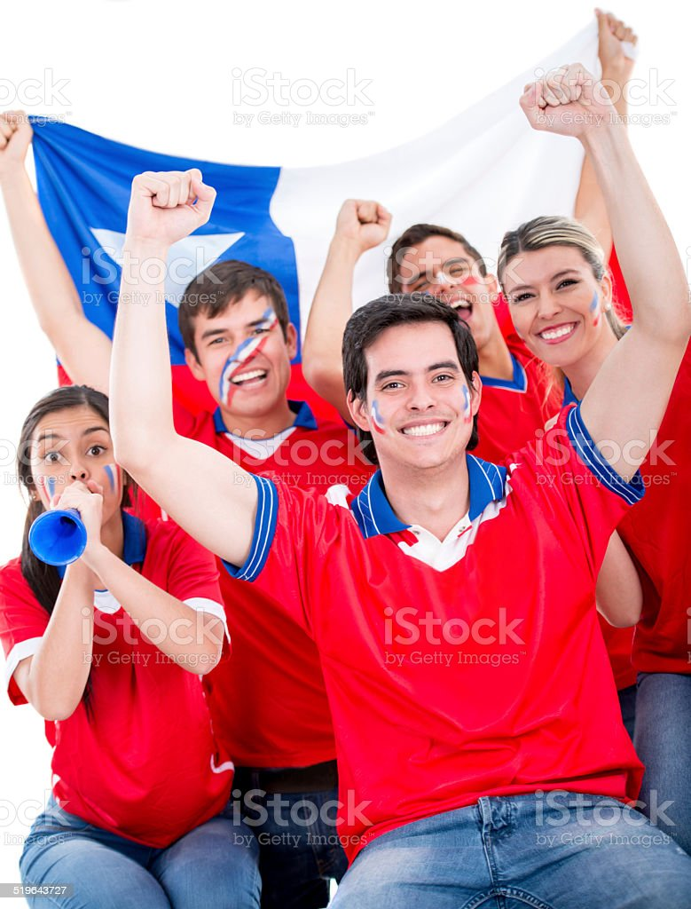 Chilean football fans stock photo