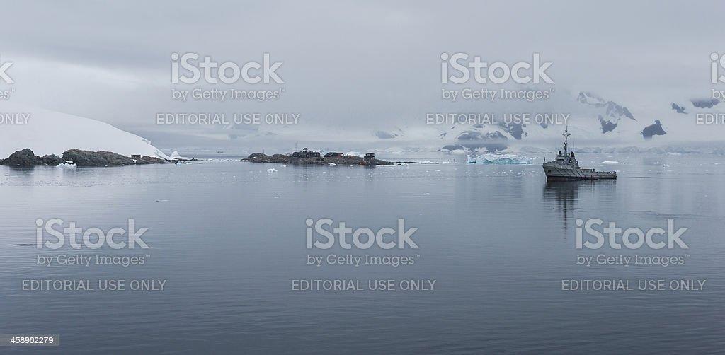 Chilean González Videla Base in Paradise Bay, Antarctica stock photo