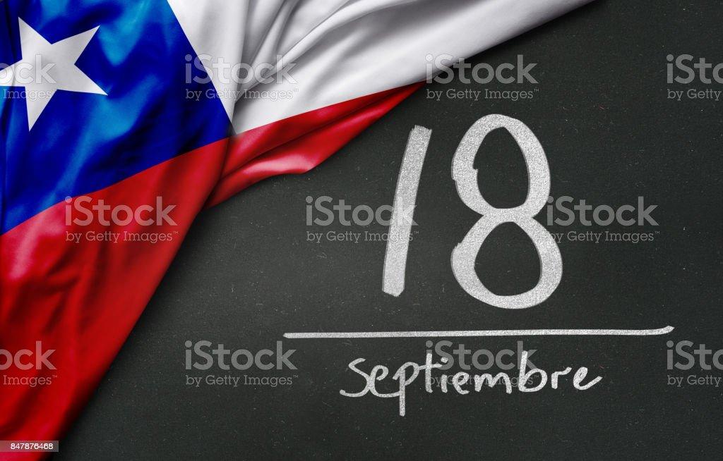 Dia da independência chileno. 18 de setembro, (escrito em espanhol) - foto de acervo