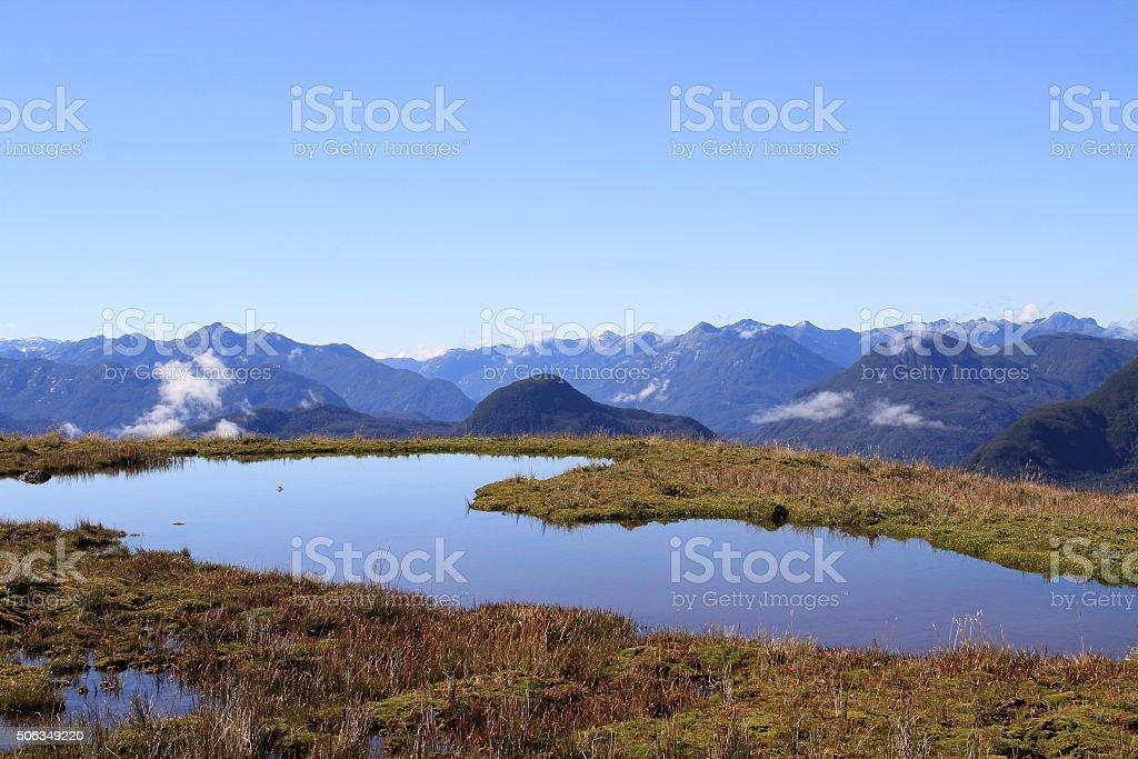 Chilean mountains aerial view stock photo