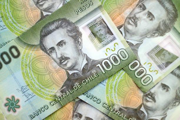 Chilean peso cash banknote background stock photo