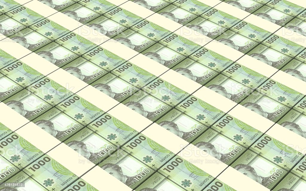 Chilean pesos bills stacks background. stock photo