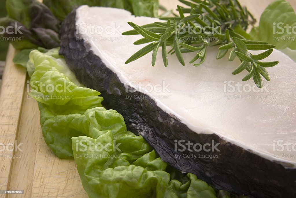 Chilean Sea Bass, Whitefish Seafood Fresh Fillet & Herbs stock photo