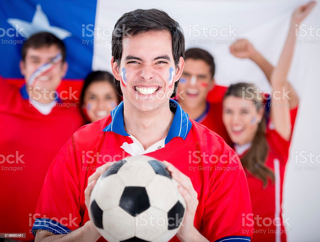 Chilean soccer fans stock photo