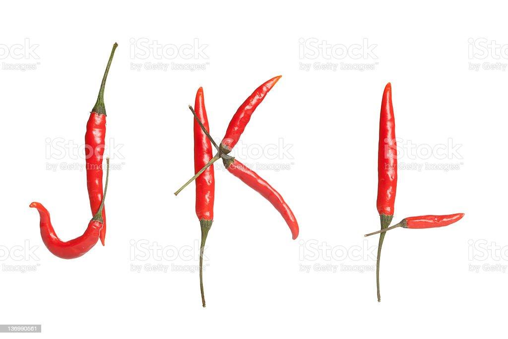Chili alphabet royalty-free stock photo