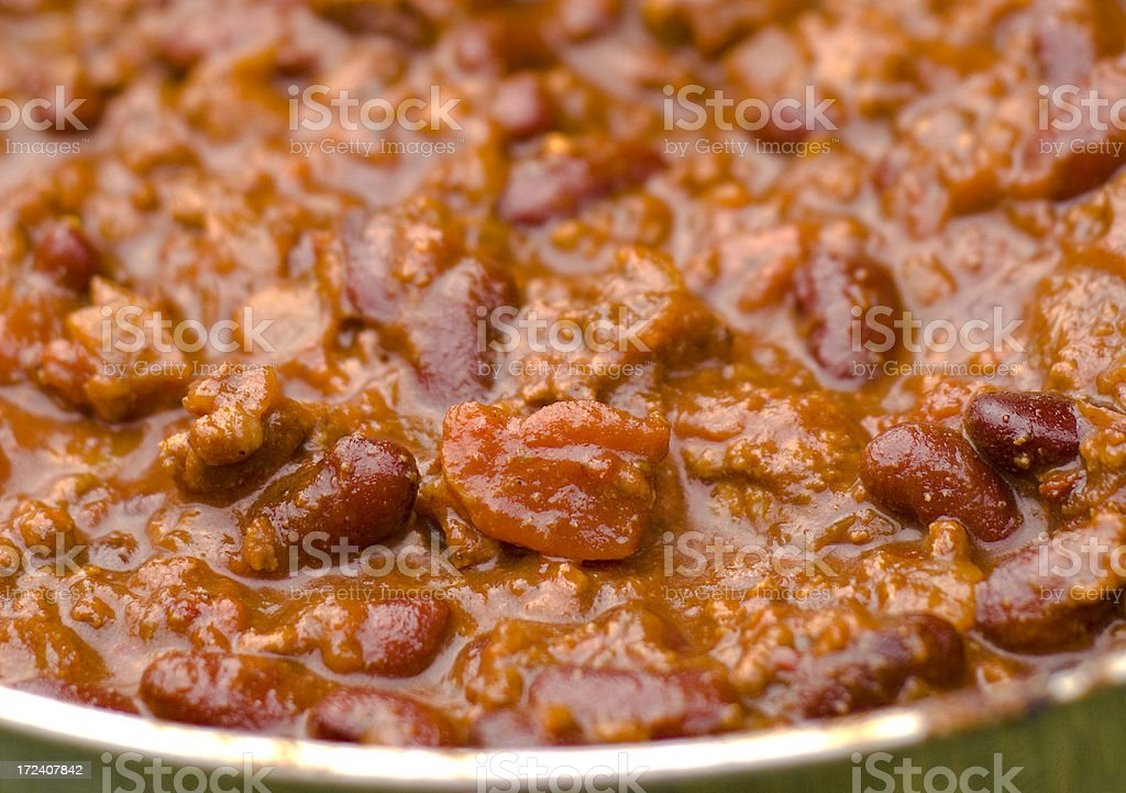 Chili Bean Soup Bowl with Beef Meat, Homemade Dinner Meal royalty-free stock photo