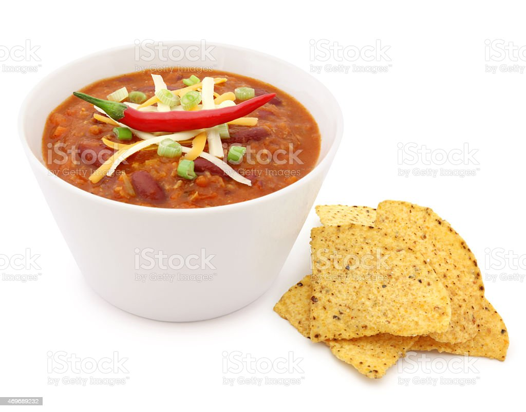 Chili Bowl and Tortilla Chips (with path) stock photo