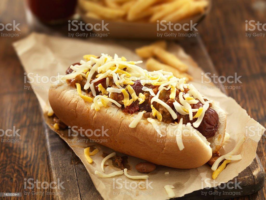 Chili Cheese Dog royalty-free stock photo