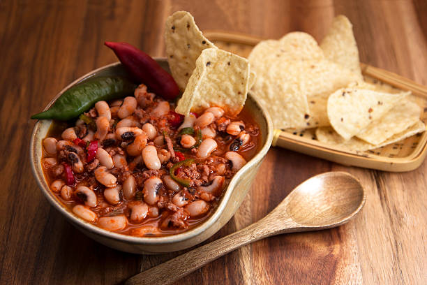 Chili con carne and black eyed peas. stock photo
