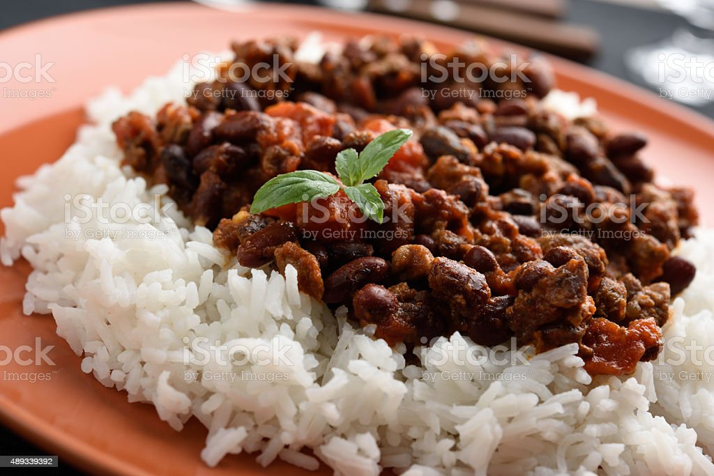 Chili con carne and rice stock photo