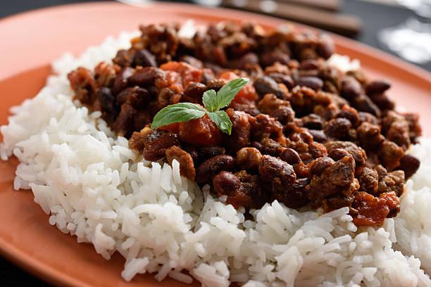 Chili con carne and rice stock photo