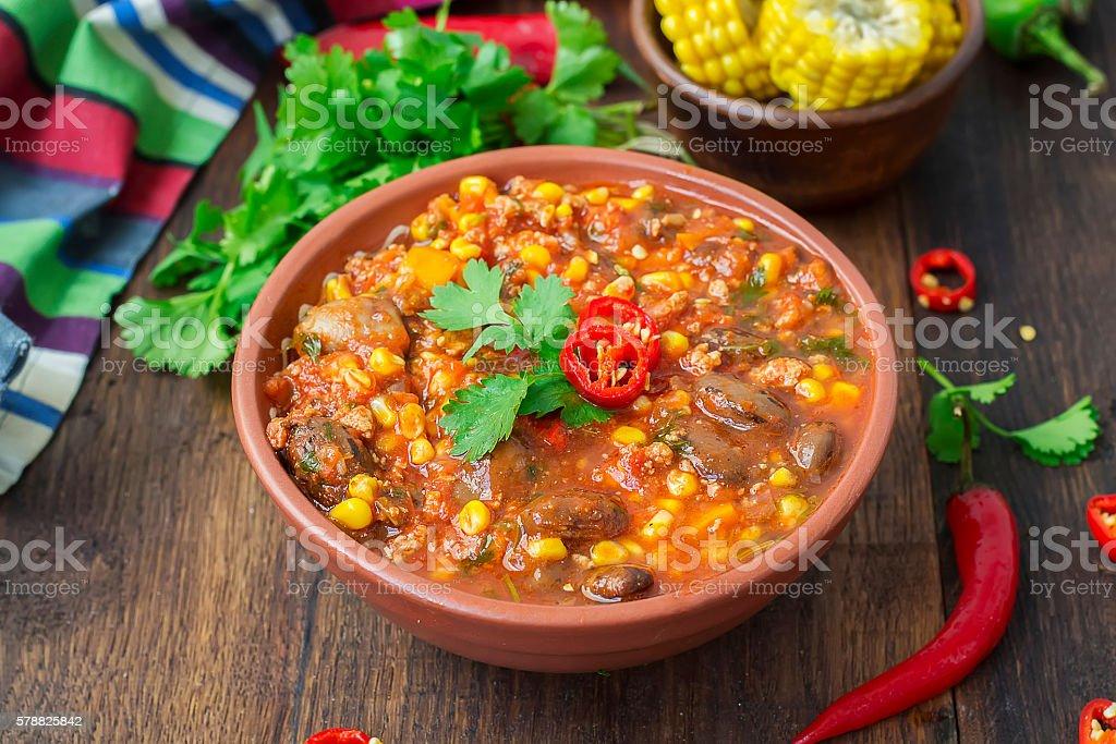Chili con carne. Traditional Mexican dish - foto de acervo