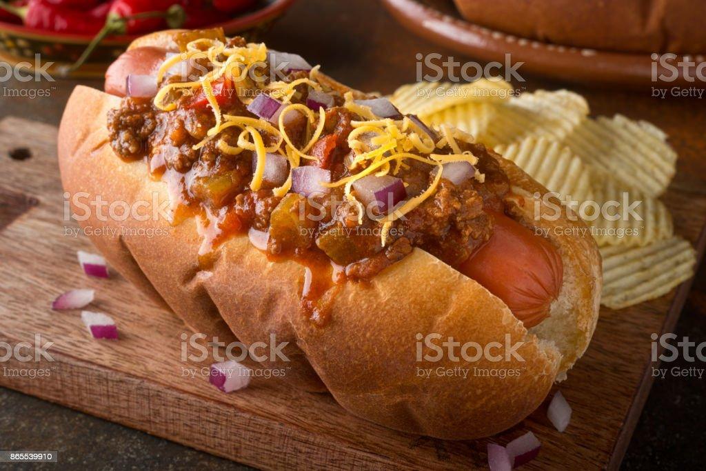 Chili Dog stock photo
