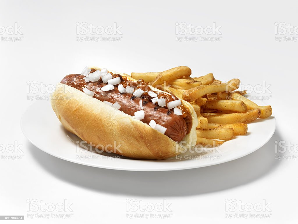 Chili Dog with Onions and Fries royalty-free stock photo