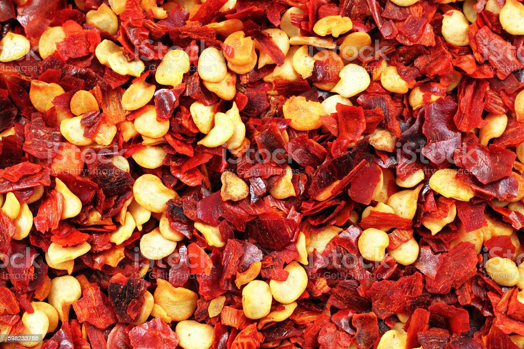 Chili Flakes Extreme Close Up foto royalty-free