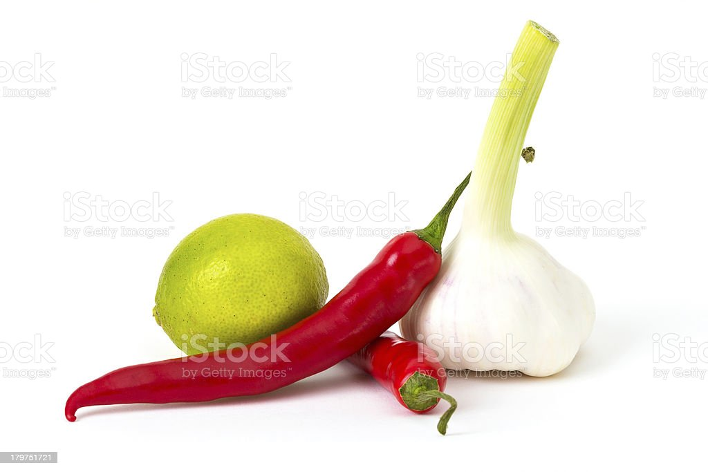 Chili, Garlic and Lime royalty-free stock photo