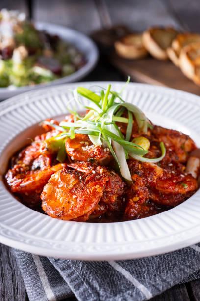 Chili Garlic Shrimp stock photo