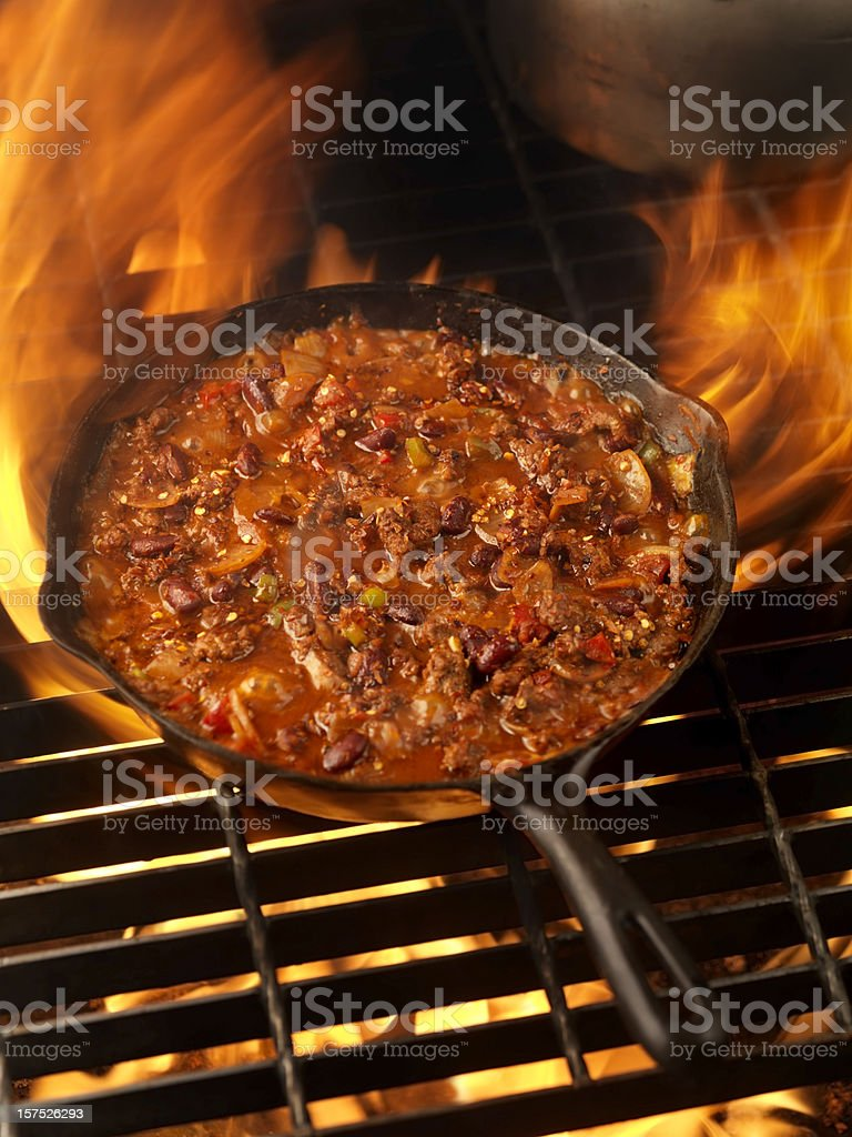 Chili in a Cast Iron Skillet royalty-free stock photo